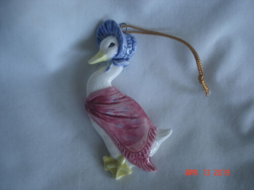 CUTE! 1982 JEMIMA PUDDLEDUCK F. WARNE / SCHMID CERAMIC CHRISTMAS ORNAMENT Japan