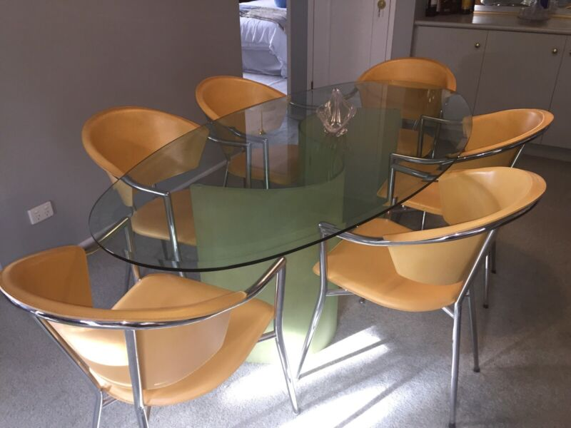 Adriatic Furniture Dining Table With Six Leather Chairs