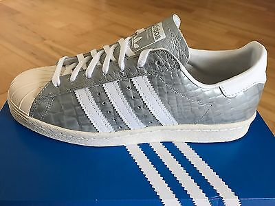 ADIDAS Superstar 80's Snakeskin Women's/Mens Trainers, Silver - Size 6