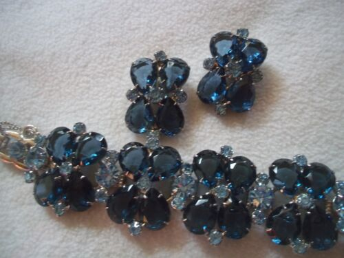 GoRGEOUS vintage JULIANA topaz & sapphire BLUES wide BRACELET, EARRINGS set