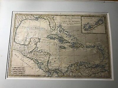 Very Rare Les Isles Antilles et le Golfe du Mexique Map Very Old Cool TSL