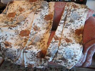 """Pair Cream & Brown  Floral Design Vintage Curtain  100""""x 54"""" Unused"""