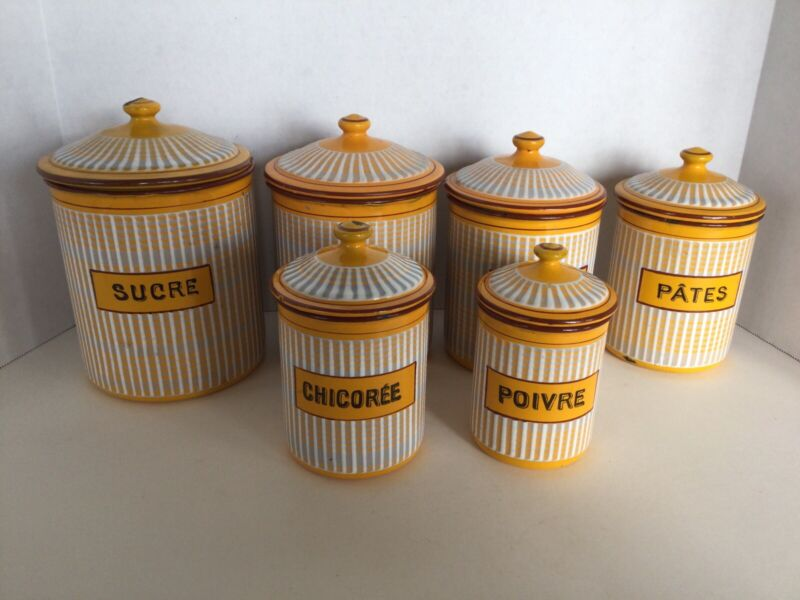 Vintage Set Of 6 French B.B. Depose Enamelware Nesting Canisters Yellow & White