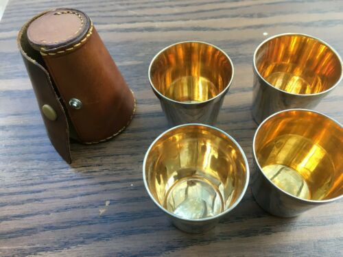 Vintage Silver Plate Stirrup Cups Set Of 4 With Leather Case