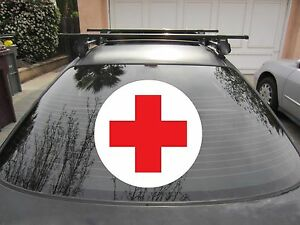 Red-Cross-Sticker-Vinyl-Decal-w-White-Circle-Background-You-Choose-Size-Color