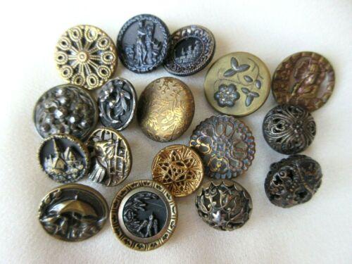 6488 –17 Small Lovely Antique Brass Buttons Incl 5 w/Cut Steels Twinkles Pierced