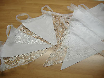 Bunting White Lace & Fabric  On Ribbon Weddings Party Handmade 20ft 6m w