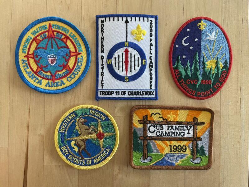 Boy Scout Patch Set of 5, Atlanta Area Council, Show, Cub, Charlevoix, CVC, West