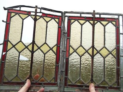 PAIR OF VINTAGE LEADED STAINED GLASS WINDOW ** SPARES OR REPAIR **