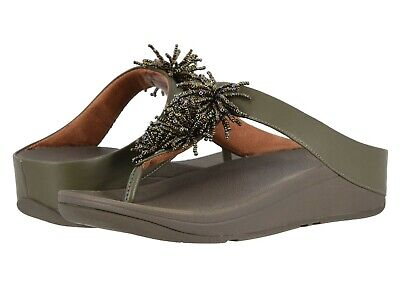 Bead Wedge Sandal - Women's Shoes Fitflop FINO BEAD POM POM T-Strap Wedge Sandal T19-664 AVOCADO