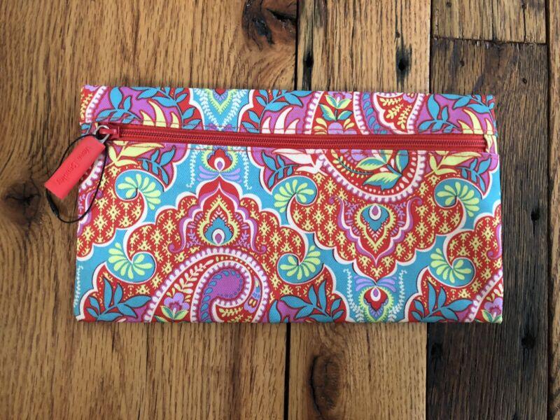 Vera Bradley Lighten Up Pencil Pouch Make Up Bag Red Multicolor Paisley