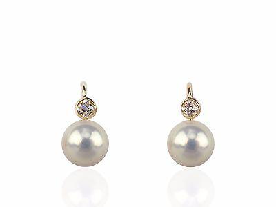Jugendstil 585 Gold Diamant Natur Orient Perle Damen Ohrringe !