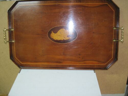 VINTAGE 1930-40 MAHOGANY HANDLED SERVING TRAY WITH INLAID