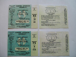 England world cup tickets 1966 Semi-Final And Final u