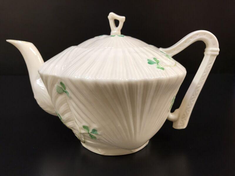 Vintage BELLEEK Irish Porcelain - Green Shamrock Harp Handle Teapot