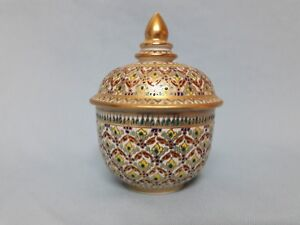 Beautiful vtg. Hand Painted Thai Benjarong Porcelain Covered Jar/Trinket/Box
