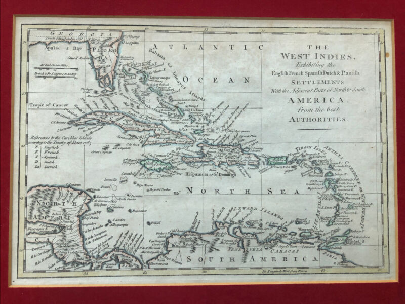 West Indies English French Spanish Dutch Danish Bowen Antique Hand Colored Map