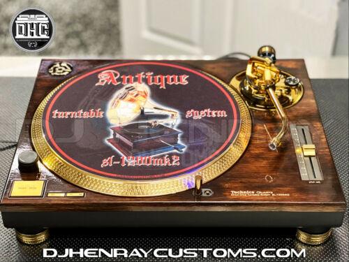 1 custom woodgrain style Technics SL1200 mk2 with 24kt Gold accents turntable dj