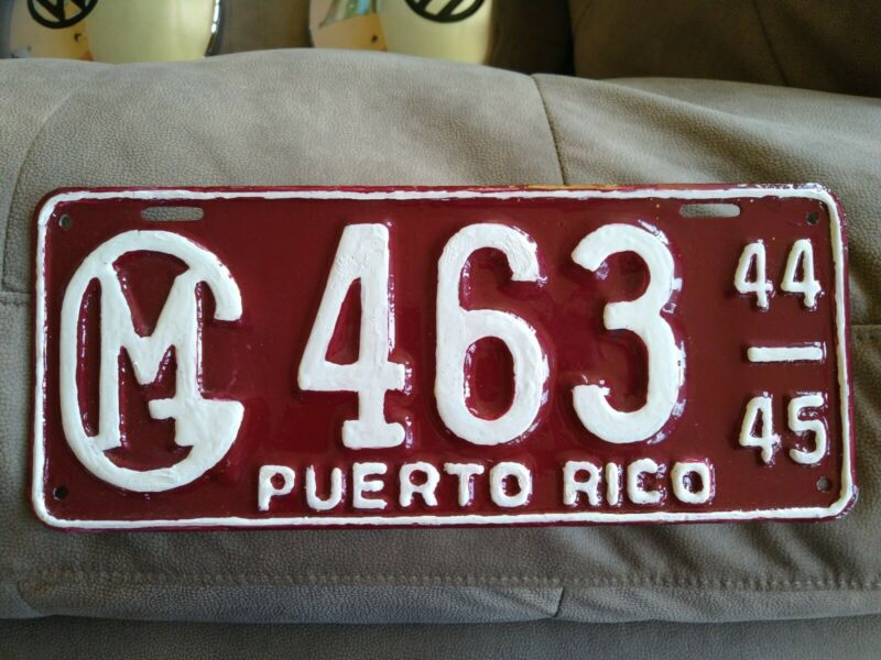 PUERTO RICO GM Vintage Extremely Rare LICENSE PLATE 1944-45 Gobierno Municipal!