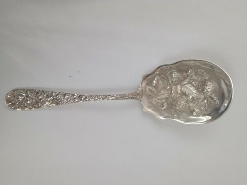 20th Century Stieff Sterling Silver Repousse Rose Berry Spoon.