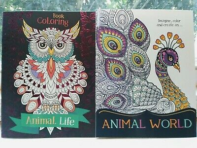 Coloring Book Of Animals (2 New Adult Coloring Books Animals Beautiful Books Lot of)