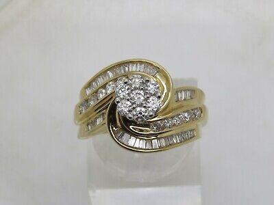 14k Yellow Gold .51 CTW Round Diamond Cluster Baguette Accent Swirl Ring Sz 7.25 Baguette Diamond Swirl Ring