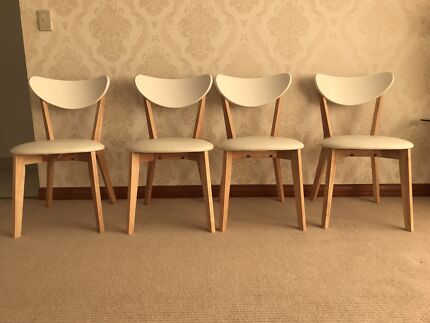X4 ToToWhite Chairs Leather Wood Malaysia  Dining