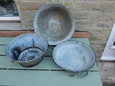 THREE galvanised basins  selection all as one bargain lot    SHOP DISPLAY ?