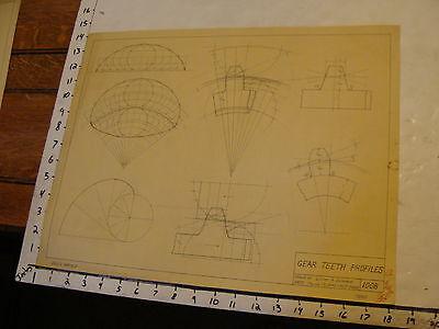 1940 vintage art Lucien a. Duhamel mechanical drawing: GEAR TEETH PROFILES