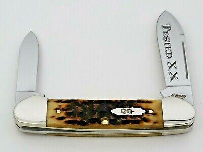 "2019 Case XX USA 62131 Canoe Pocket Knife 3 5/8"" Peach Seed Antique Bone Handles"