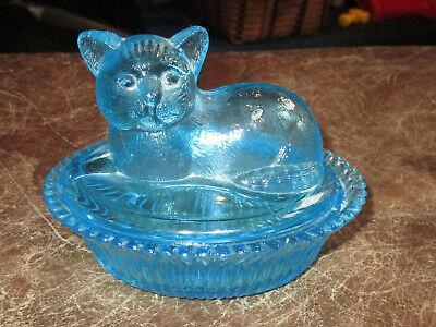 Antique Blue Glass Cat Covered Trinket Dresser Box