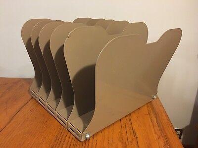 Vtg Industrial Art Steel 5-slot Desk Top Metal Paper Mail File Organizer Sorter