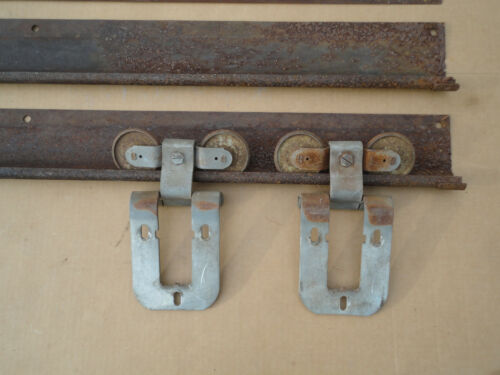 Barn Door Rollers Hangers & 8 ft Rustic Track & Cover for Sliding Door Vintage
