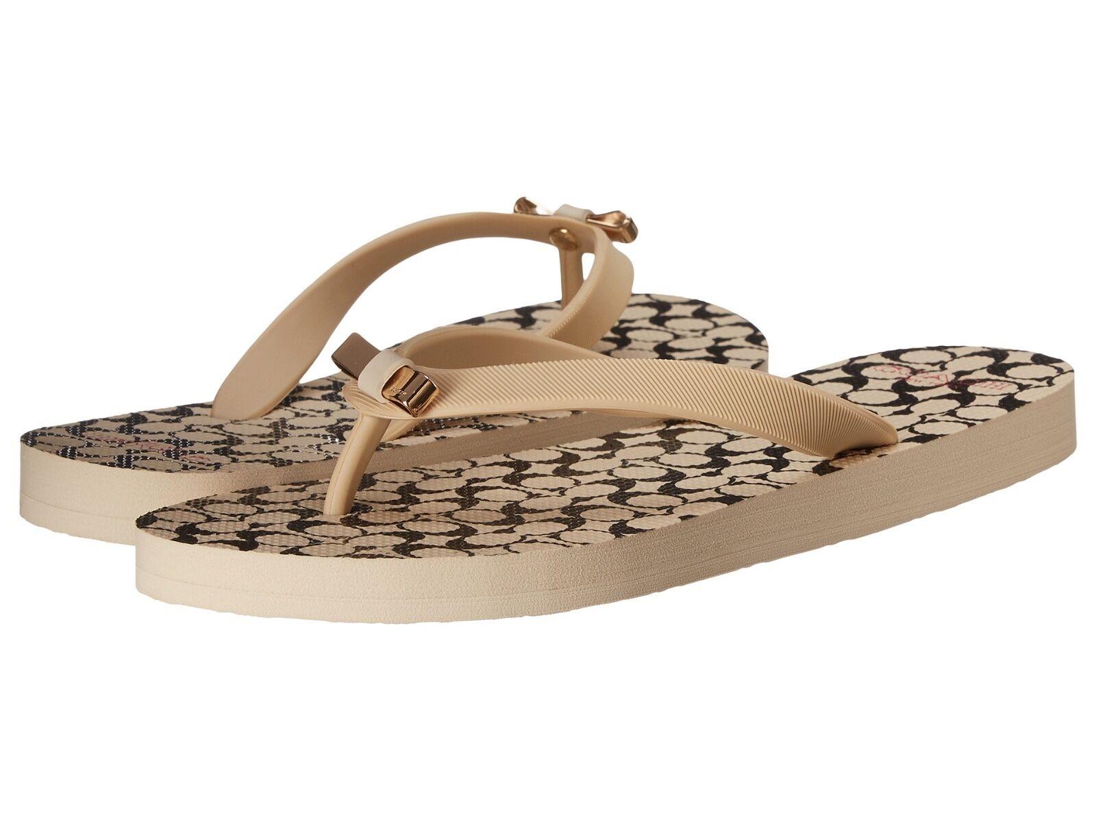 COACH Womens AMEL Flip Flops Thongs T-Strap Sandal Vanilla B