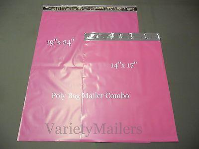 18 Pink Poly Bag Shipping Envelope Combo 19x 24 14x 17 Self-sealing Mailers
