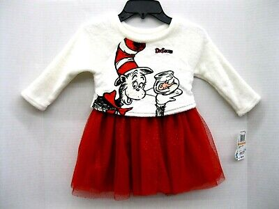 Dr Seuss Embroidery (Dress Girls 👧 Dr. Seuss 💖 Mesh Size 2T Red White Glitter Embroidery Lined)