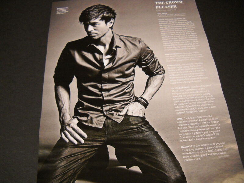 ENRIQUE IGLESIAS The Crowd Pleaser 2014 PROMO POSTER AD image and text