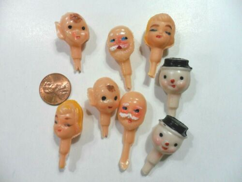 8 Vintage Celluloid Miniature Heads- made in Japan