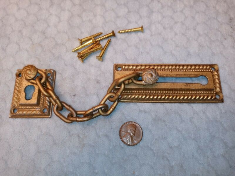 Ornate Door Chain Bolt Security Latch NOS