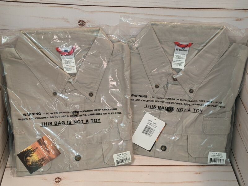 2 Boy Scout Of America BSA Adult S/S Action Shirt Large New 61693