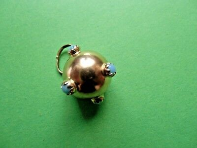 750 Goldanhänger Kugel hellblaue Farbsteine