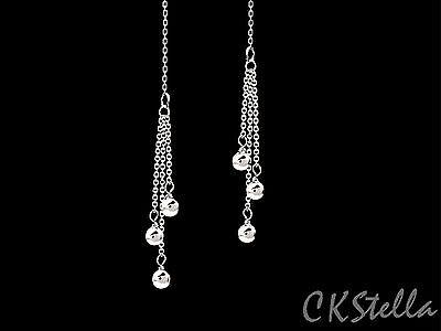 *CKstella*  .925 Sterling Silver Ball Triple Dangle Ear Thread Threader Earrings