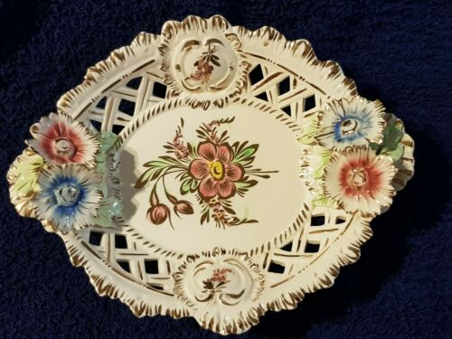 Cake plate, china porcelain, white, pink and blue flowers, gold trim