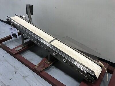 White Food Grade Scoop Crescent Top Belt Incline Conveyor 8w X 90l Ss Frame