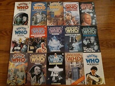 Lot of 15 1980s DOCTOR WHO paperback books, vintage Target sci-fi TV tie-in