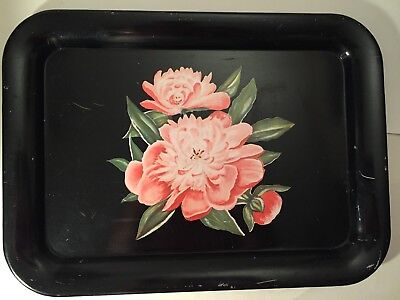Vintage Large Decorative Metal Serving Tray,Black with Pink Flowers,17.5