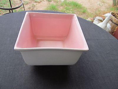 "For sale LA MIRADA CALIFORNIA POTTERY 1935-39 pink/white mandarin sq flower vase 3 1/2"""
