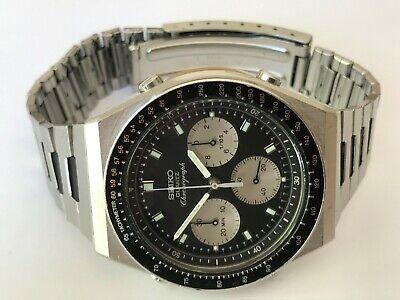 Vintage Seiko 7a28 703b Mens Reverse Panda Speedmaster Chronograph Watch