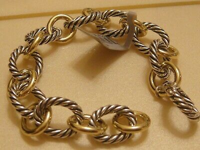 $1500 DAVID YURMAN 18K,SS LARGE OVAL LINK BRACELET
