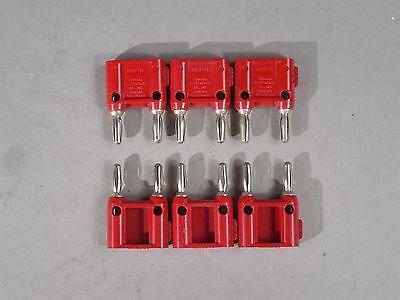 Lot Of 6 Itt Pomona Electronics Mdp-s Double Banana Jack Dark Red